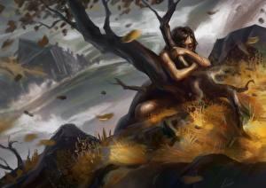 Картинки Водопады Деревья Фэнтези Девушки