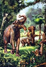 Обои Zdenek Burian Древние животные Deinotherium Животные