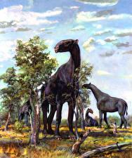 Фото Зденек Буриан Древние животные Деревья Indricotherium Животные