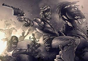 Фотография Зомби Пистолеты Лошади Черно белое