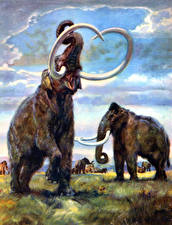 Картинка Древние животные Мамонты Zdenek Burian Parelephas trogontherii