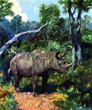 Фотография Древние животные Zdenek Burian Dicerorhinus etruscus Животные
