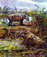 Обои Древние животные Зденек Буриан Болото Metamynodon