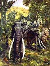 Фотография Древние животные Zdenek Burian Palaeoloxodon Животные