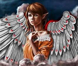 Картинка Ангелы Рыжая Крылья Anastasya Фэнтези Девушки