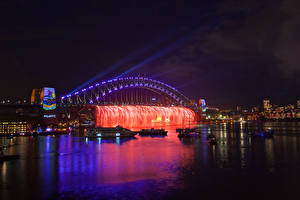 Фотография Австралия Реки Мосты Корабли Сидней Ночь Гирлянда Города