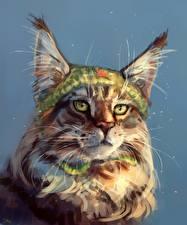 Картинки Большие кошки Рыси Рисованные Вблизи Животные