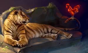 Картинки Большие кошки Тигр Рисованные Петух животное