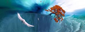 Фотографии Птицы Горы Водопады Деревья Фантастика