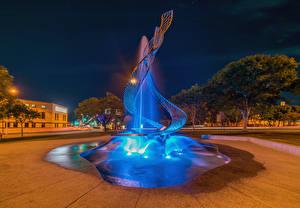 Картинка Брисбен Австралия Фонтаны Вечер Парки Города