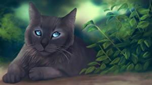 Обои Кошки Рисованные Серый Животные