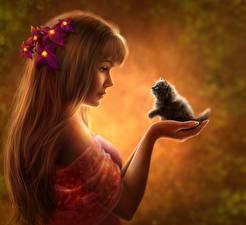 Картинки Кошки Рисованные Волосы Руки Котята Девушки
