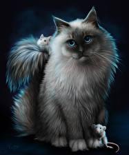 Обои Кошки Рисованные Мыши Смотрит