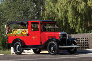 Картинки Chevrolet Ретро Красный Пикник 1931 Independence Canopy Express Автомобили