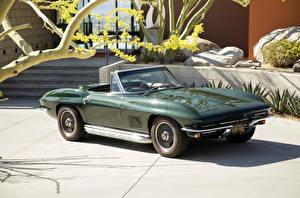 Фотографии Шевроле Ретро Зеленый Металлик Кабриолет 1967 Corvette Sting Ray L79 Convertible