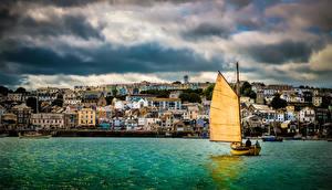 Фото Берег Здания Лодки Парусные Англия Великобритания Cornwall, Falmouth Harbour Города