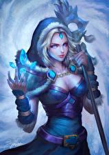 Картинки DOTA 2 Магия Crystal Maiden Посохи Rylai Игры Фэнтези Девушки