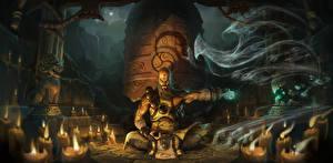 Фото Diablo 3 Магия Свечи Шаман Сидит Ночные Монах Reaper of Souls, Monk Фантастика Фэнтези