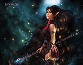 Фото Dragon Age Эльфы Посохи Волосы Девушки Фэнтези