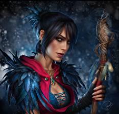 Картинки Dragon Age Посохи Взгляд Morrigan Игры Девушки Фэнтези