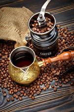 Картинки Напитки Кофе Кофемолка Зерна Еда