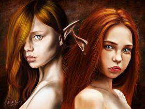 Фотографии Эльфы Двое Смотрит Волосы Рыжая Katya, Renata Девушки