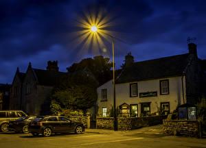 Фото Англия Здания Улица Уличные фонари Ночь Leyburn Города