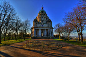 Фото Англия Дома Парки Деревья Ashton Memorial Williamson Park Города