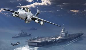 Фотографии Самолеты Истребители Авианосец Взлетает Northrop Grumman EA-6B Prowler 3D Графика Армия
