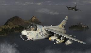 Фотография Самолеты Истребители Полет Ling-Temco-Vought A-7 Corsair II 3D Графика