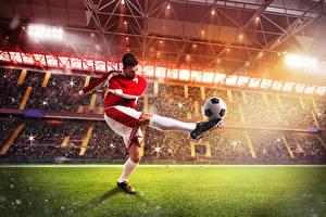 Фотография Футбол Мужчины Мяч Ноги Униформа Газон Стадион Спорт