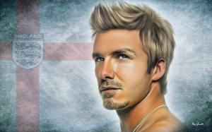 Фотографии Футбол Рисованные Мужчины Голова Красивые Лицо David Robert Joseph Beckham Спорт Знаменитости