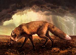 Обои Лисы Рисованные Молния Сбоку Животные