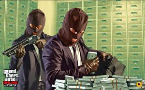 Обои для рабочего стола ГТА 5 Маски Ружьё Деньги Банк Двое Костюма Вор Online Игры