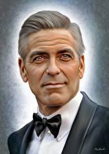 Обои Джордж Клуни Рисованные Мужчины Лицо Взгляд Знаменитости