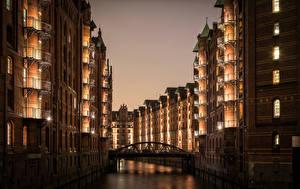 Фото Гамбург Германия Здания Реки Мосты Ночные