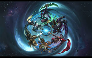 Обои Heroes of the Storm Воители Illidan Stormrage, Valla, Demon Hunter, Dominion Ghost, Tyrael, Nova terra, zeratul, Archangel of Justice Игры