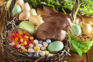 Фото Праздники Пасха Шоколад Кролики Конфеты Яйца