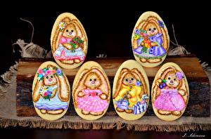 Фото Праздники Пасха Печенье Яйца Дизайн