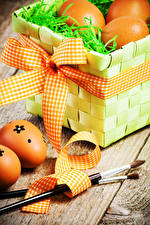 Фотография Праздники Пасха Яйца Корзина Бантик
