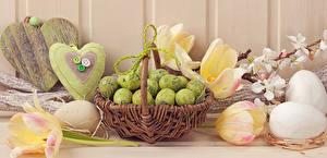 Обои Праздники Пасха Яйца Корзинка Сердце