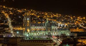 Картинка Дома Дороги Собор Ночь Quito Ecuador Города