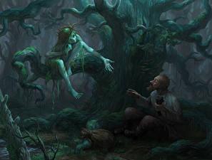 Картинки Иллюстрации к книгам Два Дерево Старый мужчина Mermaid and Gavrila, Bezhin meadow Фантастика