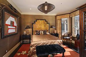 Картинка Интерьер Дизайн Спальня Кровать Люстра Лампа