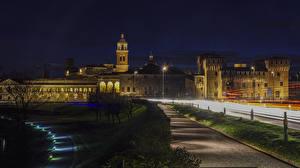 Обои Италия Замки Ночь Уличные фонари Castello San Giorgio Mantova Города