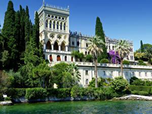 Картинка Италия Рим Вилла Озеро Пальмы Кусты Villa Borghese город