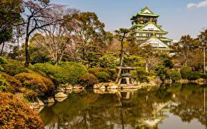 Картинка Япония Парки Пагоды Пруд Камни Деревья Кусты Osaka Castle Park Природа