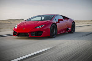 Фото Lamborghini Красный Едущий LP 580-2 Huracan Машины
