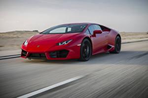 Фото Lamborghini Красные Скорость LP 580-2 Huracan машина