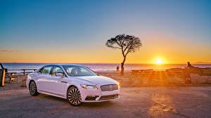 Фотографии Lincoln Рассветы и закаты Белый Металлик Солнце 2017 Continental Авто
